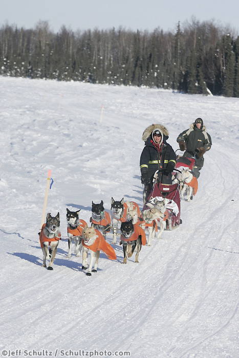 Sunday, February 25th, Willow, Alaska.  Jr. Iditarod mushers  Patrick Mackey (front) and Cain Carter (rear) near the finish line just seconds apart in 12th & 13th place