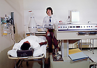 Greenville Memorial Hospital. Technician scanning a patient.