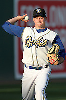 Allen Webster #16 of the Rancho Cucamonga Quakes warms up before pitching against the Visalia Rawhide at The Epicenter in Rancho Cucamonga,California on May 20, 2011. Photo by Larry Goren/Four Seam Images