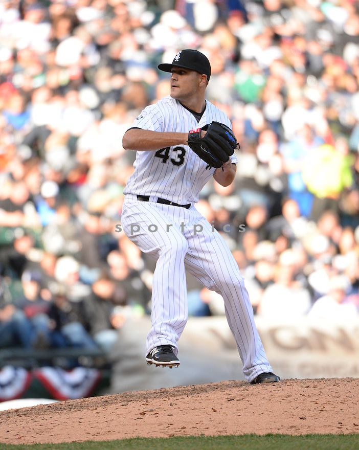 Chicago White Sox Dan Jennings (43) during the White Sox home opener against the Minnesota Twins on April 10, 2015 at US Cellular Field in Chicago, IL. The Twins beat the White Sox 6-0.