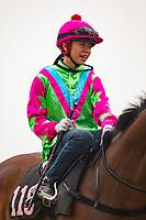 SHA TIN,HONG KONG-MAY 05: Kei Chiyong,origin from Hong Kong,popular female jockey in Hong Kong, is going to Barrier Trial  at Sha Tin Racecourse on May 5,2017 in Sha Tin,New Territories,Hong Kong (Photo by Kaz Ishida/Eclipse Sportswire/Getty Images)