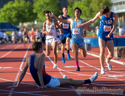Cooper Teare, (1), a distance runner for St. Joseph High School of Alameda, reacts after he finished short of the sub 4:00 minute mile at the Sacramento Meet of Champions at American River College, Saturday Apr 29, 2017. <br /> photo by Brian Baer (Brian Baer/Special to The Bee)