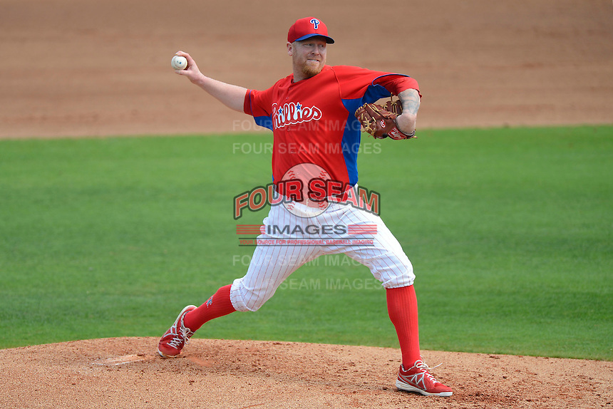 Philadelphia Phillies pitcher Aaron Cook #29 during a Spring Training game against the New York Yankees at Bright House Field on February 26, 2013 in Clearwater, Florida.  Philadelphia defeated New York 4-3.  (Mike Janes/Four Seam Images)