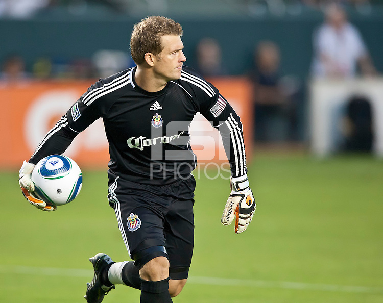 CARSON, CA – July 23, 2011: Chivas USA goalie Dan Kennedy (1) during the match between Chivas USA and Houston Dynamo at the Home Depot Center in Carson, California. Final score Chivas USA 3, Houston Dynamo 0.