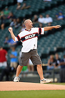 99.5 radio host Drew Walker throws out a ceremonial first pitch before a Chicago White Sox game against the Toronto Blue Jays on August 15, 2014 at U.S. Cellular Field in Chicago, Illinois.  Chicago defeated Toronto 11-5.  (Mike Janes/Four Seam Images)