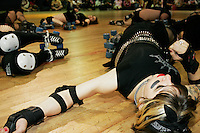 Suzy Hotrod of the Queens of Pain gets ready for a match against the Manhattan Mayhem on June 17, 2005.