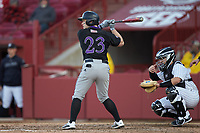 Riley Livingston (23) of the Holy Cross Crusaders at bat against the South Carolina Gamecocks at Founders Park on February 15, 2020 in Columbia, South Carolina. The Gamecocks defeated the Crusaders 9-4.  (Brian Westerholt/Four Seam Images)