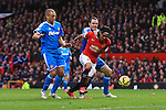 John O'Shea of Sunderland pulls at Radamel Falcao of Manchester United, but Wes Brown is red carded - Manchester United vs. Sunderland - Barclay's Premier League - Old Trafford - Manchester - 28/02/2015 Pic Philip Oldham/Sportimage