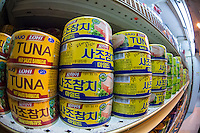 Cans of tuna from Korea are seen in an asian supermarket in Koreatown in New York on Friday, March 22, 2013. (© Richard B. Levine)