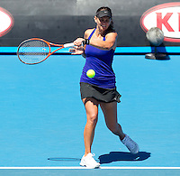 CASEY DELLACQUA (AUS) against BOJANA JOVANOVSKI (SRB) in the First Round of the Women's Singles. Casey Dellacqua beat Bojana Jovanovski 6-3 6-2..16/01/2012, 16th January 2012, 16.01.2012..The Australian Open, Melbourne Park, Melbourne,Victoria, Australia.@AMN IMAGES, Frey, Advantage Media Network, 30, Cleveland Street, London, W1T 4JD .Tel - +44 208 947 0100..email - mfrey@advantagemedianet.com..www.amnimages.photoshelter.com.