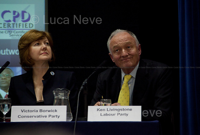 """Victoria Borwick and Ken Livingston, British politicians - 2012<br /> <br /> London 23/04/2012. Today the """"Old Theatre"""" at LSE (London School of Economics) was the arena of a pre-election mayoral debate organised by Fawcett Society. The discussion was focused on what the candidates will do for the 4 million women living in London if elected as new Mayor. The speakers included: Victoria Borwick (Assembly candidate for the Conservative Party) on behalf of Boris Johnson (Actual Mayor of London and candidate for the Conservative Party), Ken Livingston (Mayoral candidate for the Labour Party), Jenny Jones (Mayoral candidate for the Green Party), Brian Paddick (Mayoral candidate for the Liberal Democrats). Chair of the event was Ceri Goddard (CEO Fawcett Society)."""