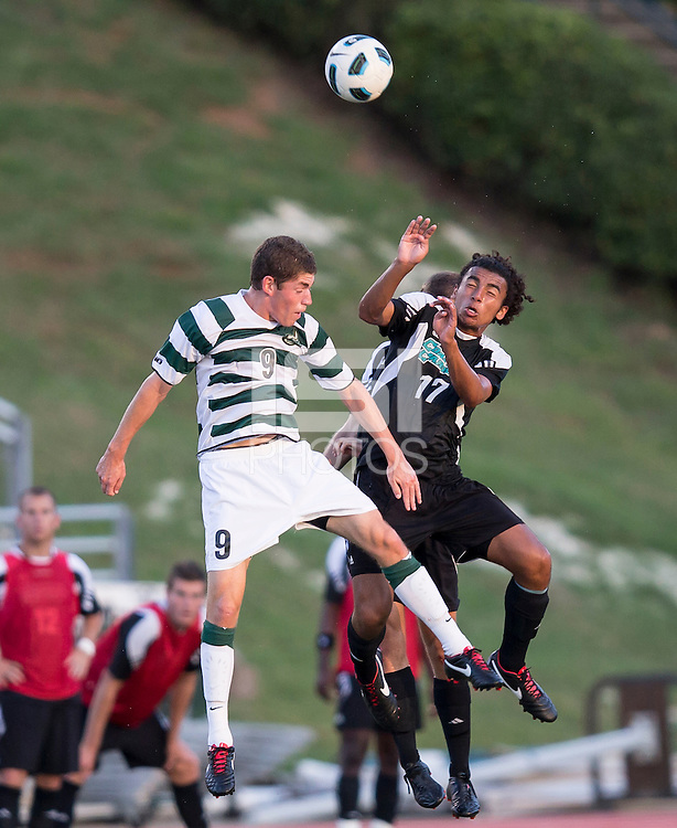 Number 8 ranked Charlotte beats number 16 ranked Coastal Carolina 1-0 on a goal by Thomas Allen in the 101st minute during the second overtime.  Mikey Lightbourne (17), Donnie Smith (9)