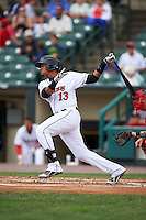 Rochester Red Wings shortstop Argenis Diaz (13) at bat during a game against the Pawtucket Red Sox on July 1, 2015 at Frontier Field in Rochester, New York.  Rochester defeated Pawtucket 8-4.  (Mike Janes/Four Seam Images)