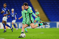 Harry McKirdy of Carlisle United has a shot during the FA Cup third round match between Cardiff City and Carlisle United at the Cardiff City Stadium in Cardiff, Wales, UK. Saturday 04 January 2020