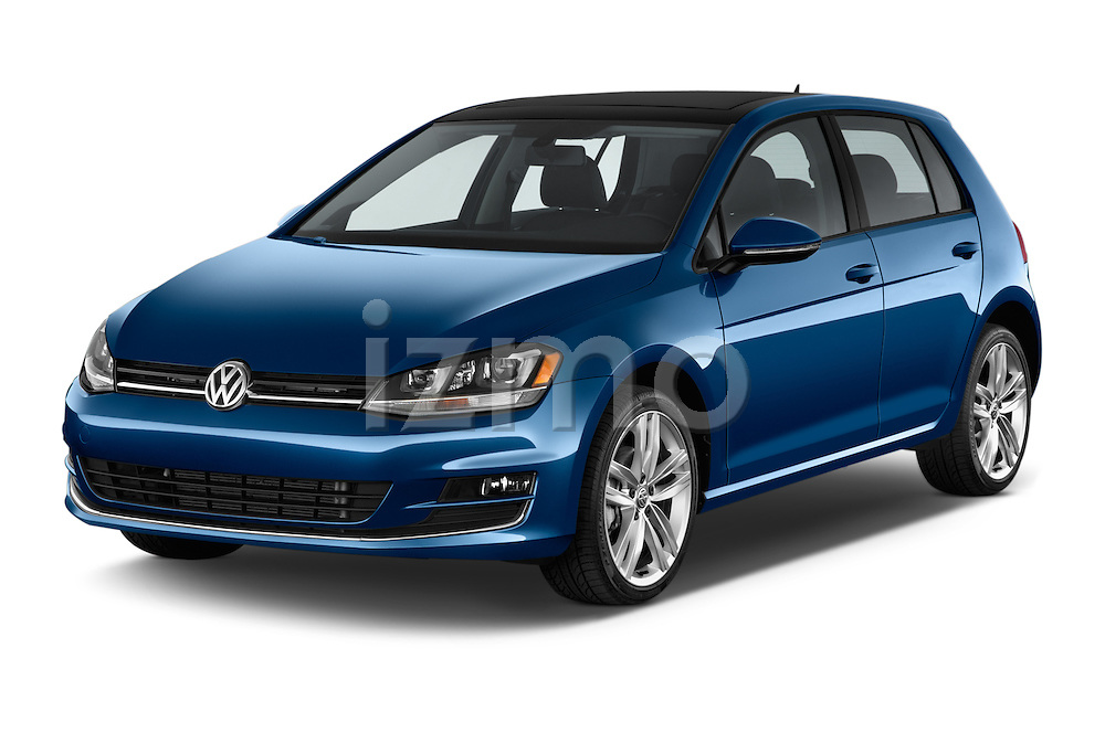 2015 Volkswagen Golf SEL 4-door TSI  Auto PZEV 4 Door Hatchback Angular Front stock photos of front three quarter view