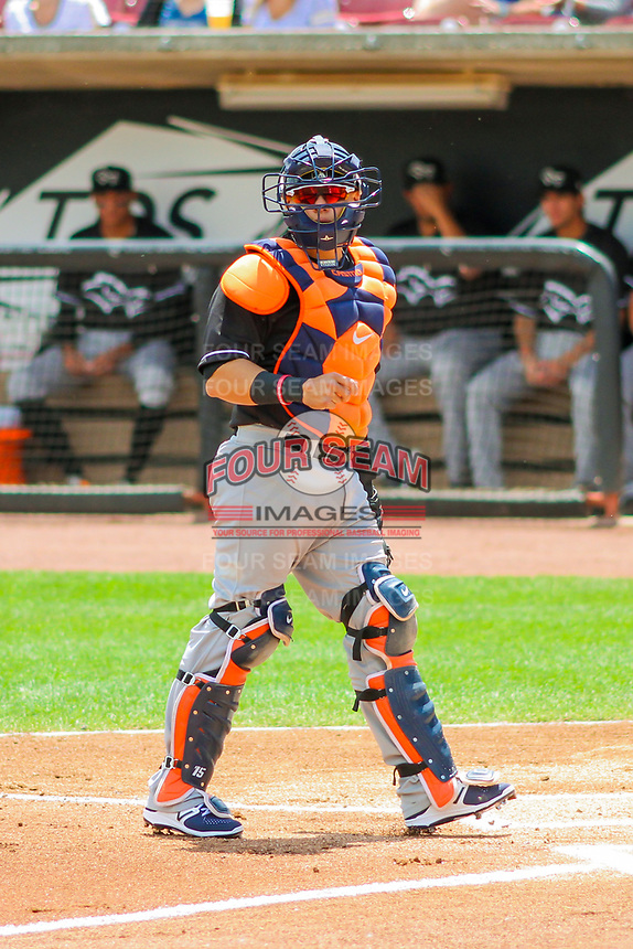 Quad Cities River Bandits catcher Gabriel Bracamonte (6) during a Midwest League game against the Wisconsin Timber Rattlers on June 27, 2017 at Fox Cities Stadium in Appleton, Wisconsin.  Quad Cities defeated Wisconsin 6-5. (Brad Krause/Four Seam Images)
