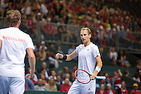 Switserland, Genève, September 19, 2015, Tennis,   Davis Cup, Switserland-Netherlands, Doubles: Dutch team Matwe Middelkoop/Thiemo de Bakker (R)  photo 3<br /> Photo: Tennisimages/Henk Koster