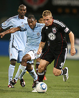 Danny Allsopp #9 of D.C. United races away from Marvell Wynne #22 of the Colorado Rapids during an MLS match on May 15 2010, at RFK Stadium in Washington D.C. Colorado won 1-0.
