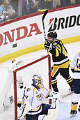 8th June 2017, Pittsburgh, PA, USA; Pittsburgh Penguins left wing Conor Sheary (43) celebrates his goal on Nashville Predators goalie Juuse Saros (74) during the second period in Game Five of the 2017 NHL Stanley Cup Final between the Nashville Predators and the Pittsburgh Penguins on June 8, 2017, at PPG Paints Arena