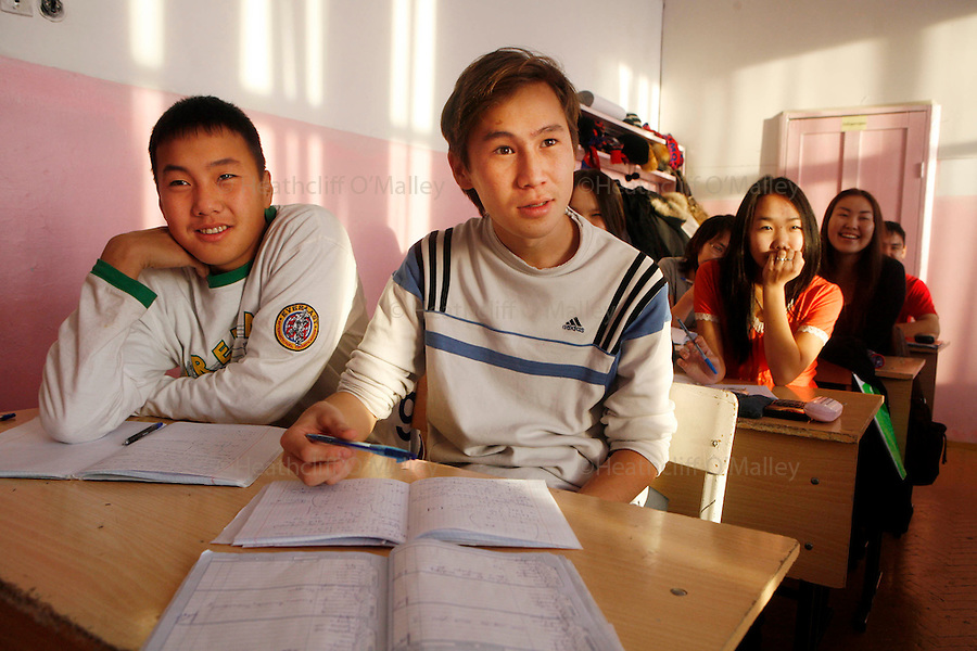 Photo by Heathcliff Omalley..Yakutsk 22 November 2007.Ethnic Yakutian pupils studying in a class at the Republican Lyceum in the city of Yakutsk in the Sakha Republic in Outer Far Eastern Russia. The school is based in the state university and offers the regions indigenous people the opportunity to take classes in their own language instead of Russian..Yakutsk is one of Russia's remotest cities which lies on a permafrost that never thaws, buildings therefore have to be built on stilts to prevent the structures heat from melting the foundations, causing subsidence.