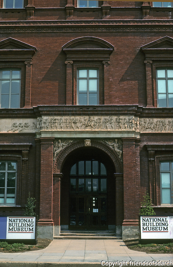 Washington D.C. : Pension Building, Entrance, 1887. Architect Montgomery C. Miegs. 400 ft. x 200 ft. Photo '91.