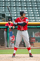 Jesus Montero (20) of the Tacoma Rainiers at bat against the Salt Lake Bees in Pacific Coast League action at Smith's Ballpark on May 7, 2015 in Salt Lake City, Utah. The Bees defeated the Rainiers 11-4 in the completion of the game that was suspended due to weather on May 6, 2015. (Stephen Smith/Four Seam Images)