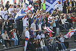 Faroe Islands 0 Scotland 2, 06/06/2007. European Championship Qualifier. Faroese supporters cheering on their team as the Faroe Islands take on Scotland in a Euro 2008 group B qualifying match at the Svangaskard stadium in Toftir. The visitors won the match by 2 goals to nil to stay in contention for a place at the European football championships which were to be held in Switzerland and Austria in the Summer of 2008. It was the first time Scotland had won in the Faroes, the previous two matches ended in draws. Photo by Colin McPherson.