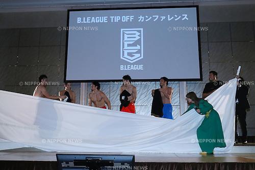 (L to R) <br /> Shigehiro Taguchi (Northern Happinets), <br /> Leo Vendrame (Sunrockers), <br /> Masashi Joho (Grouses), <br /> Taito Nakahigashi (Diamond Dolphins), <br /> Yutaka Yokoe (Lakestars), <br /> AIVAN, <br /> Shinnosuke Negoro (Evessa), <br /> SEPTEMBER 12, 2016 - Basketball : <br /> 2016-17 B.LEAGUE Tip off Conference <br /> in Tokyo, Japan. <br /> (Photo by YUTAKA/AFLO SPORT)