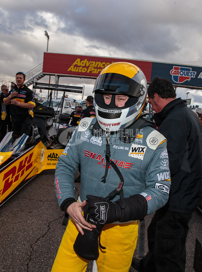 Feb 22, 2019; Chandler, AZ, USA; NHRA top fuel driver Richie Crampton during qualifying for the Arizona Nationals at Wild Horse Pass Motorsports Park. Mandatory Credit: Mark J. Rebilas-USA TODAY Sports