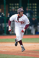 Brendon Hayden (34) of the Virginia Tech Hokies hustles down the first base line during the game against the Toledo Rockets at The Ripken Experience on February 28, 2015 in Myrtle Beach, South Carolina.  The Hokies defeated the Rockets 1-0 in 10 innings.  (Brian Westerholt/Four Seam Images)
