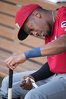 Darnell Sweeney (24) of the Lehigh Valley Iron Pigs tapes his bat handle prior to the game against the Charlotte Knights at BB&T BallPark on June 3, 2016 in Charlotte, North Carolina.  The Iron Pigs defeated the Knights 6-4.  (Brian Westerholt/Four Seam Images)