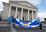 FK Trakai v St Johnstone…05.07.17… Europa League 1st Qualifying Round 2nd Leg<br />Saints fans in Vilnius ahead of kick off, from left, Colin MacKay, Bill MacDonald, Roddy Ross and Neil MacDonald<br />Picture by Graeme Hart.<br />Copyright Perthshire Picture Agency<br />Tel: 01738 623350  Mobile: 07990 594431