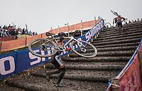 Lars van der Haar (NED/Telenet-Fidea) dismounting for the stairs<br /> <br /> Elite Men's Race<br /> UCI 2017 Cyclocross World Championships<br /> <br /> january 2017, Bieles/Luxemburg