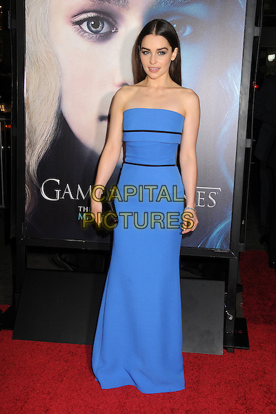 "Emilia Clarke.""Game Of Thrones"" 3rd Season Los Angeles Premiere held at the TCL Chinese Theatre, Hollywood, California, USA..March 18th, 2013.full length dress clutch bag blue black strapless .CAP/ADM/BP.©Byron Purvis/AdMedia/Capital Pictures."