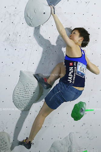 Asaki Hagiwara (JPN),<br /> APRIL 23, 2016 - Sports Climbing : <br /> IFSC Climbing World Cup - Bouldering Kazo 2016 <br /> Women's Qualification <br /> at Kazo Civic Gymnasium, Saitama, Japan. <br /> (Photo by Shingo Ito/AFLO SPORT)