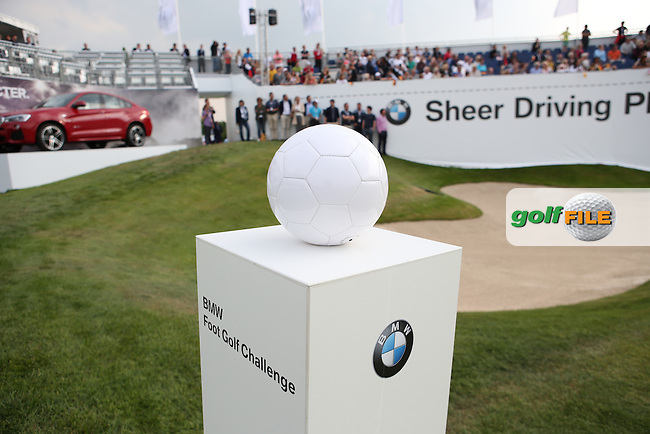 Ball on plinth for the Foot Golf Challenge during the Opening Show Event of the BMW International Open 2014 from Golf Club Gut Lärchenhof, Pulheim, Köln, Germany. Picture:  David Lloyd / www.golffile.ie