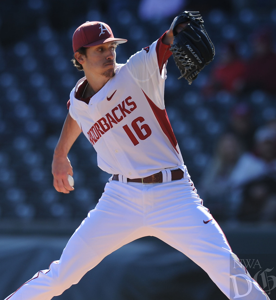 NWA Democrat-Gazette/ANDY SHUPE<br /> Arkansas starter Blaine Knight delivers to the plate against Bryant Friday, Feb. 24, 2017, during the first inning at Baum Stadium in Fayetteville. Visit nwadg.com/photos to see more photographs from the game.