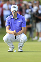 Matthew Fitzpatrick (ENG) lines up his birdie putt on the 18th green during Sunday's Final Round 4 of the 2018 Omega European Masters, held at the Golf Club Crans-Sur-Sierre, Crans Montana, Switzerland. 9th September 2018.<br /> Picture: Eoin Clarke | Golffile<br /> <br /> <br /> All photos usage must carry mandatory copyright credit (© Golffile | Eoin Clarke)