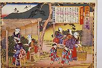Asie/Japon/Nara: Détail d'estampes japonaises sur la récolte du thé