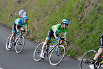 Adam Yates (GBR) Mitchelton-Scott, Jon Izagirre (ESP) and Jakob Fuglsang (DEN) Astana Pro Team 1 minute down at the end of Stage 5 of the Tour of the Basque Country 2019 running 149.8km from Arrigorriaga to Arrate, Spain. 12th April 2019.<br /> Picture: Colin Flockton | Cyclefile<br /> <br /> <br /> All photos usage must carry mandatory copyright credit (&copy; Cyclefile | Colin Flockton)