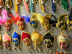 Carnevale mask souvenirs in a shop, Venice, Italy