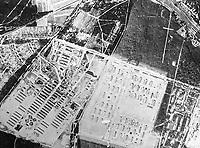 BNPS.co.uk (01202 558833)Pic: Pen&Sword/BNPS<br /> An aerial reconnaissance photograph of Stalag Luft III circa 1944-1945.<br /> <br /> The medals of a war hero who played a key role in the 'Great Escape' are being sold for the first time.Flight Lieutenant Leslie Broderick was in charge of the entrance of one of three escape tunnels beneath the German prison camp that 76 PoWs later broke out from.The RAF pilot was one of those who famously escaped and spent three days on the run with two others before a German farmer they sought help from turned them in.F/Lt Broderick was returned to Stalag Luft III and spent three weeks in isolation. But his two colleagues - Flying Officer Denys Street and F/O Henry Birkland - were among the 50 escapees executed by the Gestapo on the orders of Adolf Hitler.