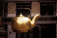 Steaming tea kettle sign goverment center Boston Massachusetts