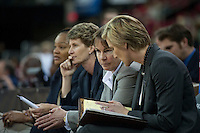 FRESNO, CA--Head Coach Tara VanDerveer talks with Assistant Kate Paye before the second half during a 76-60 win over South Carolina at the Save Mart Center for the West Regionals semifinals of the 2012 NCAA Championships.