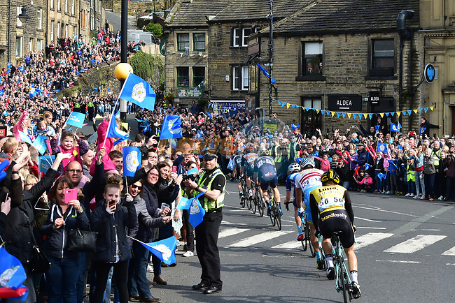 The breakaway group 2'29&quot; ahead with 61km to go during Stage 3 of the Tour de Yorkshire 2017 running 194.5km from Bradford/Fox Valley to Sheffield, England. 30th April 2017. <br /> Picture: ASO/P.Ballet | Cyclefile<br /> <br /> <br /> All photos usage must carry mandatory copyright credit (&copy; Cyclefile | ASO/P.Ballet)