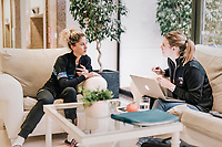 sports nutritionist Stephanie Scheirlynck meeting with Jolanda Neff (SUI/Trek-Segafredo) at the Trek-Segafredo training camp<br /> <br /> Mallorca jan2019<br /> <br /> &copy;kramon