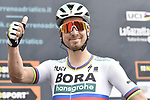 World Champion Peter Sagan (SVK) Bora-Hansgrohe at sign on before the start of Stage 6 of the 53rd edition of the Tirreno-Adriatico 2018 running 153km from Numana to Fano, Italy. 12th March 2018.<br /> Picture: LaPresse/Fabio Ferrari | Cyclefile<br /> <br /> <br /> All photos usage must carry mandatory copyright credit (&copy; Cyclefile | LaPresse/Fabio Ferrari)