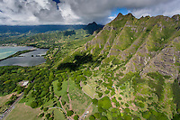 An aerial view of the Ko'olau Mountains, Windward O'ahu.