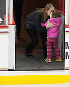 Katie Crowley (BC - Head Coach) and daughter Camryn. - The Boston College Eagles defeated the visiting Providence College Friars 7-1 on Friday, February 19, 2016, at Kelley Rink in Conte Forum in Boston, Massachusetts.