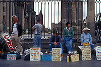 Mexican tradesmen advertising their skills beside the Metropolitan Cathedral in downtown Mexico City
